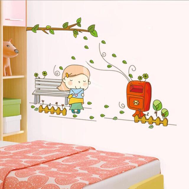 Warm Color Elegant Pink Girl Send Letter Tree Home Decor Wall