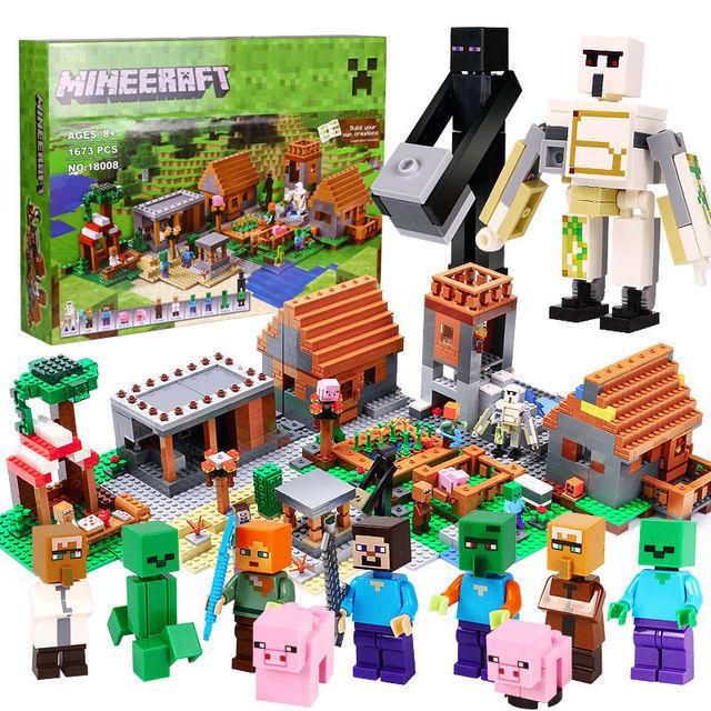 1673pcs Model building toys hobbies compatible with lego my world MineCraft 21128 Village blocks bricks Educational for children