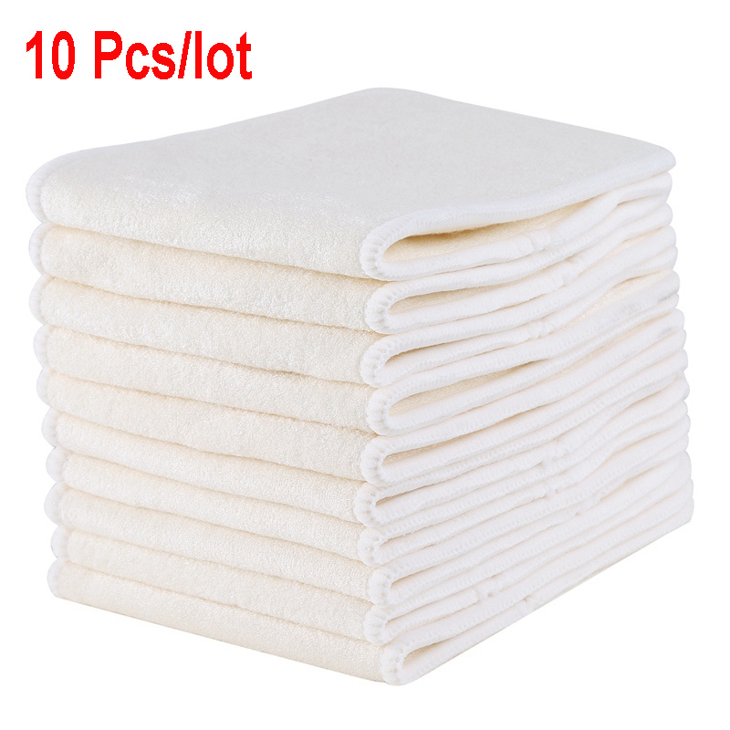 10PCS Bamboo Reusable Pocket Cloth Diaper Inserts 3-Layers Bamboo Nappy Inserts