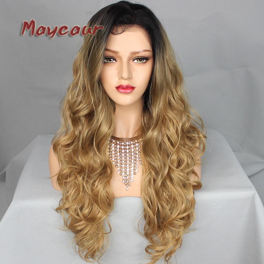 180 täthet långa vågor med naturliga hår syntetiska snörning - Syntetiskt hår