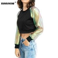 0f2b2e794 XUANSHOW New Arrival Fashion Sweatshirts For Women Patchwork Mesh  Transparent Sleeve Crop Top Pullovers Sweatshirt Bluzy