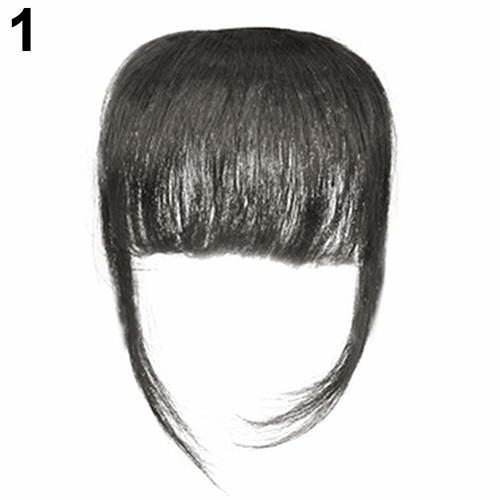 Fashion Women Girl Thin Straight Clip on Front Fringe Bangs Hair Extension ...