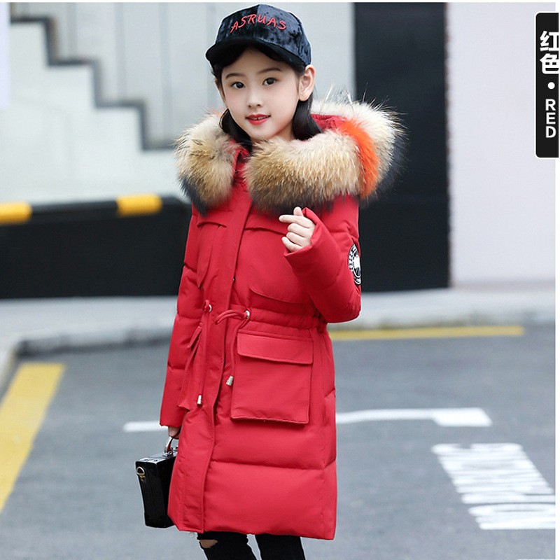 Girls Down Coats Girl Winter New 2018 Fashion Children Coat Kids Warm Thick Fur Collar Hooded Long Down Parka For Teenage 4Y-14Y weixu fashion girls winter coat kids outerwear parka down jackets hooded fur collar outdoor warm long coats children clothing