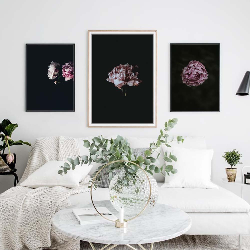 Quadro Black Peony Posters And Prints Flowers Print Canvas