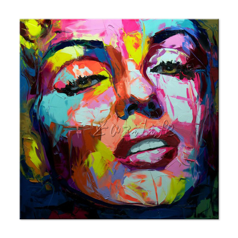 Francoise Nielly Marilyn Monroe portrait canvas painting Palette knife Face Oil painting Impasto wall picture for living room in Painting Calligraphy from Home Garden