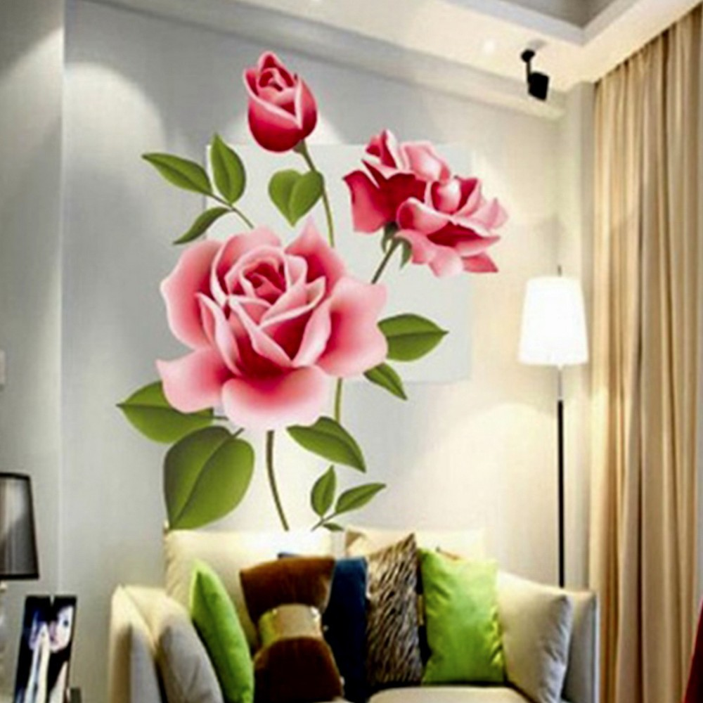 Creative Gifts PVC 3D Rose Flower Romantic Love Wall Sticker Removable Decal Home Decor Living Room Bed Decals Mothers Day Gift In Stickers From