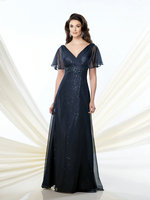 ZZ373 2018 Brilliant Sequined Short Sleeve Mother of the Bride Dresses Floor Length Mother of the Bride Dresses