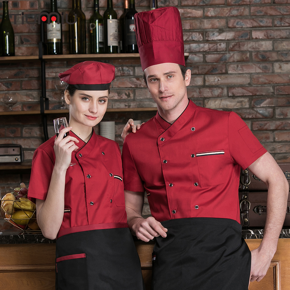 2019 Chef Jacket Food Service Short Sleeves Cake Bread Shop Cuisine Cook Workwear Shirt Breathable Kitchen Restaurant Uniforms