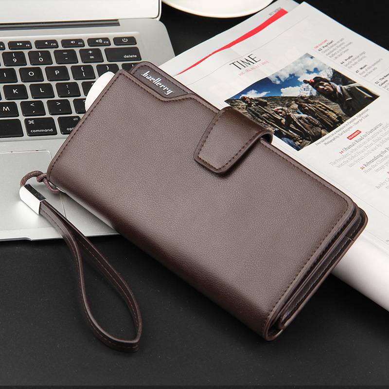 цена на retro men long wallet oil wax high leather hasp zipper male clutch pruse  vintage large capacity coin pocket with wrist strap