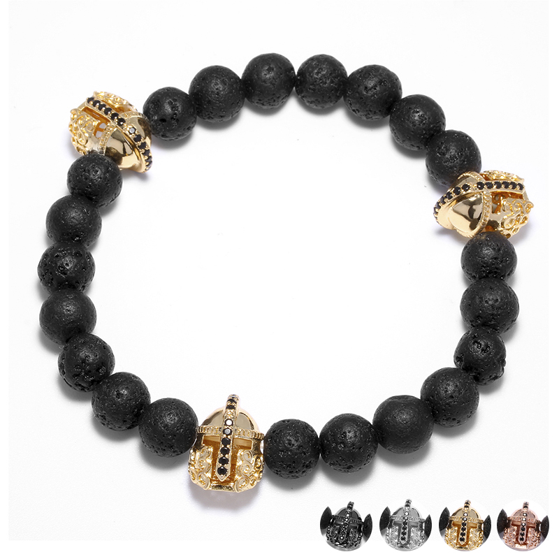 Black Lava Natural Stone Beaded Bracelet for Men Fashion Warrior Helmet Charm Bracelets  ...