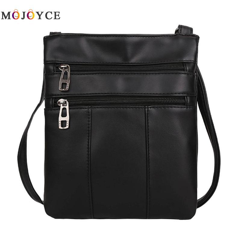 Women Messenger Bags PU Leather Zipper Adjustaable Strap Crossbody Shoulder Satchel Handbags