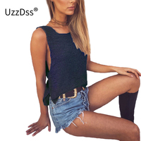UZZDSS Summer Sexy Women Girls Loose Knitted Tank Tops Casual Crochet Crop Vest Crop Top Bralette