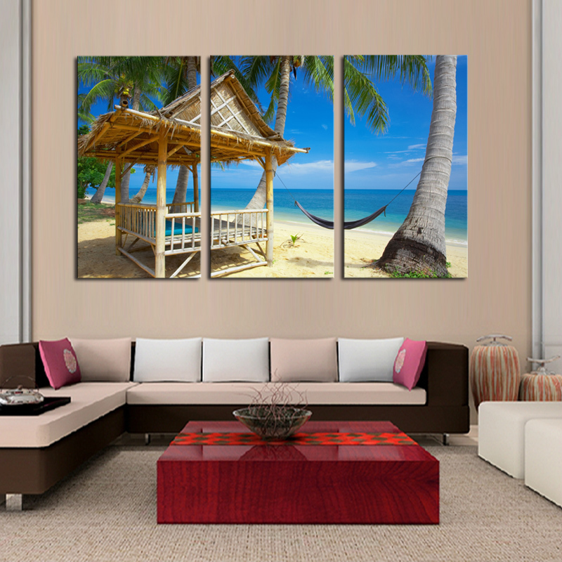 3 pcs Home Decor Canvas Frameless Beach Coconut Trees Modern Wall Canvas painting Art HD Picture Paint on Canvas Prints