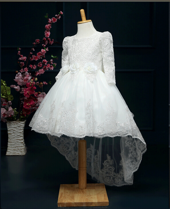 Girls Party Dresses 2016 Autumn Winter Long Sleeve  Lace Tail Flower Girl Princess Dress Children Costume Kids Wedding Dress