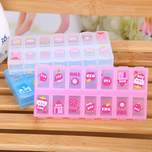 YYW Jewelry Box Cute 14 cells Pill Box Plastic Tool Box Case Jewelry Rings Craft Organizer Storage Beads Tiny stuff Containers