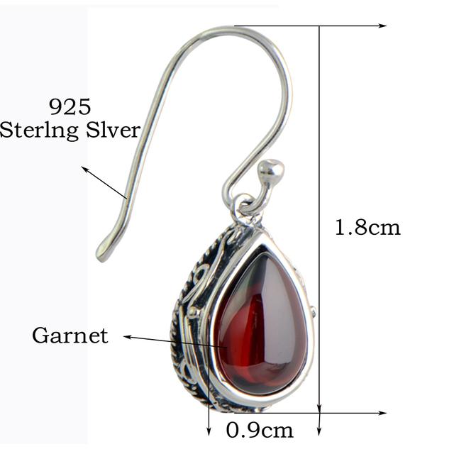 MetJakt Vintage 925 Sterling Silver Garnet Drop Earring & Green Natural Agate for Women Wedding Party Luxury Thai Silver Jewelry