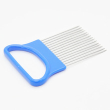 Kitchen Gadgets Handy Stainless Steel Onion Cutter Holder Potato Tomato Slicer Vegetable Fruit Cutter Safety Cooking Tools