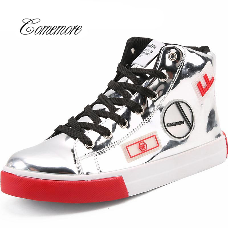Comemore  Patent Leather Running Shoes Men Sport Shoes Man Sneakers Sports High Top Krasovki Silver Trainers Male TennisComemore  Patent Leather Running Shoes Men Sport Shoes Man Sneakers Sports High Top Krasovki Silver Trainers Male Tennis