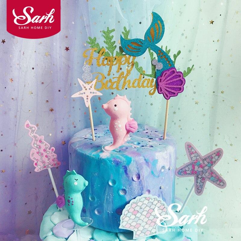 147 15 De Descuentorosa Verde Sirena Cola Concha Estrella Pastel Topper Seahorse Pastel Decoración Postre Decoración Para Fiesta De Cumpleaños