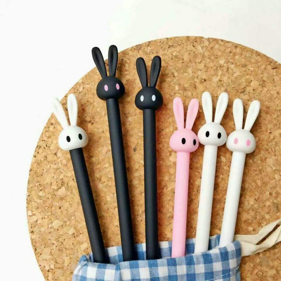 2 pcs Gel Pens Ear rabbit black colored kawaii gift Gel-ink Pens Pen For writing Cute stationery office school supplies 0.5mm