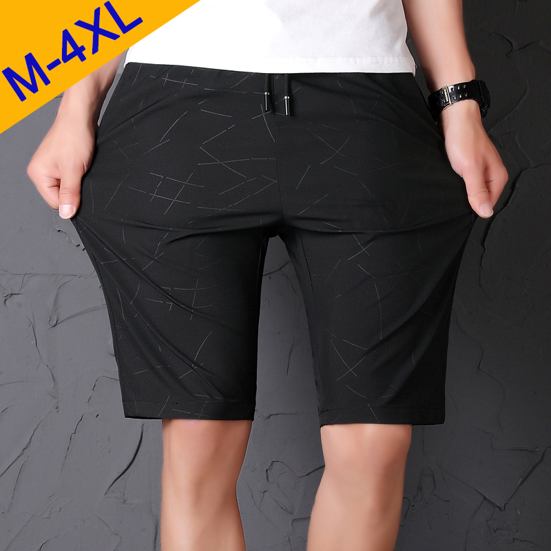Summer Shorts Beachwear Elastic-Waist Male Fashion Breathable Straight Fast-Dry Men