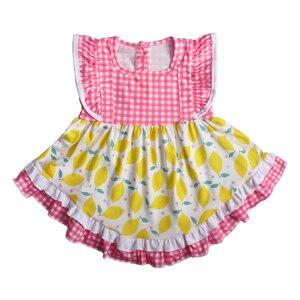 Image 3 - أحدث نمط طفل الفتيات مجموعة ملابس الليمون أكمام اللباس مع الكشكشة السراويل بوتيك الاطفال الصيف مجموعات 2GK904 1200 HY