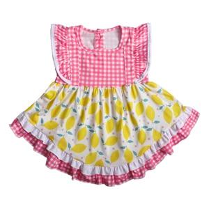 Image 3 - Son Tarzı Bebek Kız giyim setleri Limon Kolsuz Elbise Fırfır şort Butik Çocuk Yaz Setleri 2GK904 1200 HY