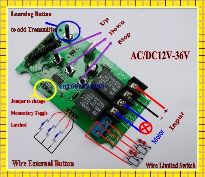 ac dc 12v 24v 36v motor remote control switch 2ch motor up down stop rh aliexpress com