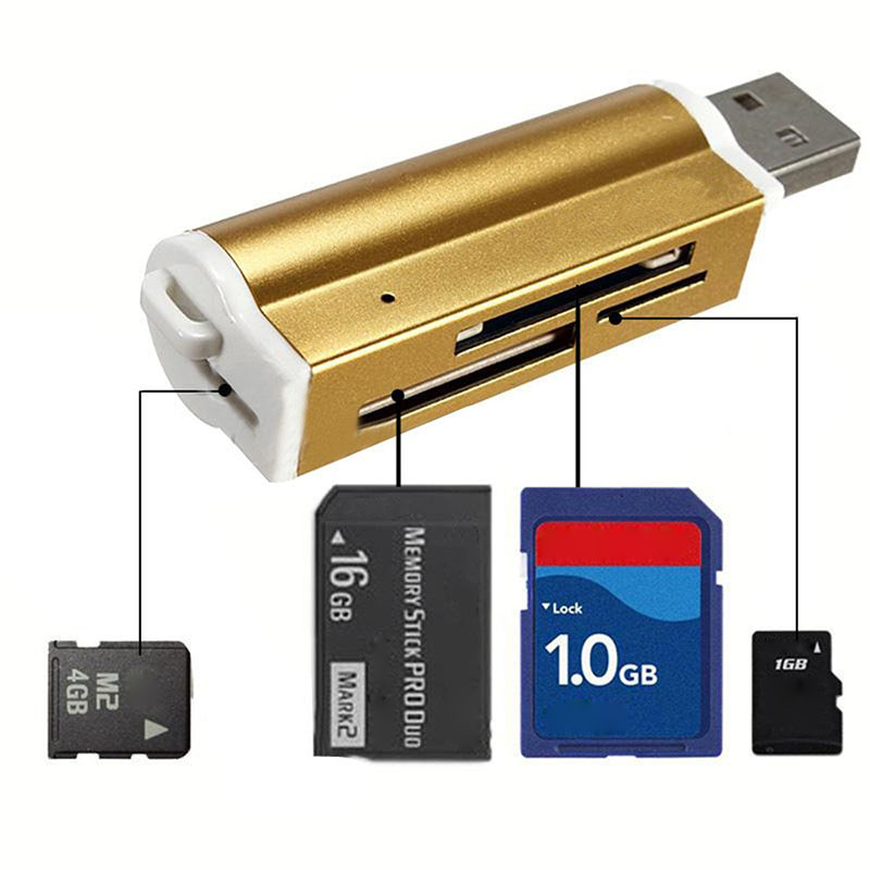 2019 USB2.0 4 In 1 Aluminium Alloy Multi Memory Card Reader For SD/SDHC/Mini SD/MMC/TF Card Multi-function Memory Card Reader