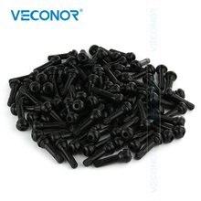 100 pces tr414 snap na válvula do pneu hastes de borracha preta curta com tampão de poeira
