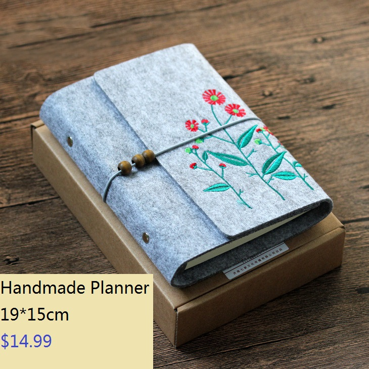 Brand New Lovely Loose Leaf DIY B6 Planner Ruled Inner, Flower Embroidered Spiral Notebook Diary Birthday Gift