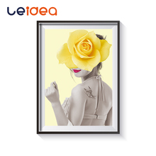 Creative Fashion Posters Prints Flowers Women Oil Painting Canvas Wall Pictures for Living Room Home Decoration Uncovered