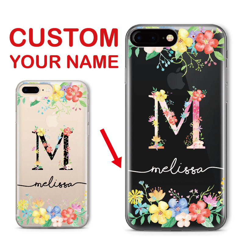 the latest 74ff6 725bb Custom Personalized Name Floral Letter Initial Soft Clear Phone Iphone 6 6S  XS Max 7 7Plus 8 8Plus 5 X SAMSUNG S7 S8 S9