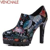 VENCHALE National Style Grind Arenaceous Graceful Curve Design Side Zipper Women Pumps Platform Manual High Heels