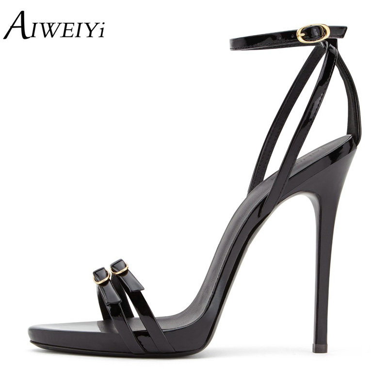 AIWEIYi Summer Women High Heels Sandals Shoes Woman Black Party Wedding Ladies Pumps Ankle Buckle Strap Stilettos Sexy Shoes new arrival black brown leather summer ankle strappy women sandals t strap high thin heels sexy party platfrom shoes woman