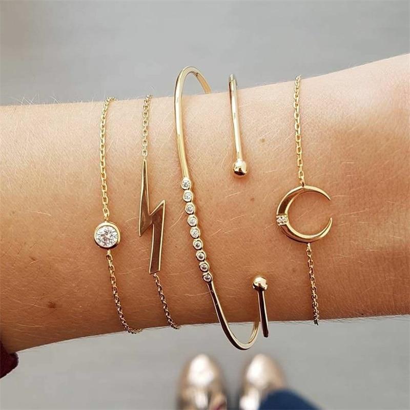 5Pcs/Set Fashion Women Charm Beach Gold Color Chain Moon Crystal Geometry Chain bangle Bracelet Set Jewelry A Direct Sale
