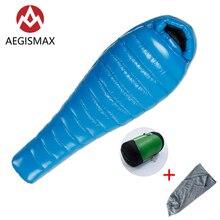 Уличный спальный мешок AEGISMAX G2 с белым гусиным пухом, ультралегкий спальный мешок для кемпинга в холодную зиму, с перегородкой, FP800