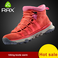 RAX Men Women Genuine Leather Hiking Shoes Outdoor Waterproof Warm Sneakers Breathable Outdoor Sports Shoes Men