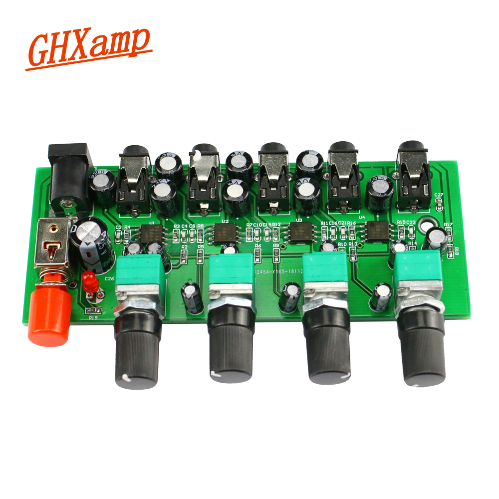 Home Audio & Video Amplifier Mixer Stereo Audio Signal Mixing Board 1 Input 4 Output Njm3414a Amplification Function For Push Headphones Amplifier Diy Dc12v Aesthetic Appearance