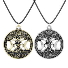 Boys Girls Choker Necklace Skyrim Tree of Life Pentagram Pentacle Triple Moon Wicca Necklaces Pendants Vintage Jewelry(China)
