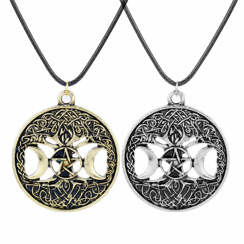 Meninos Meninas Gargantilha Colar Skyrim Wicca Pentagrama Pentagrama Lua Tripla Árvore da Vida Colares Pingentes de Jóias Vintage