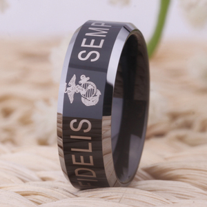 "Image 4 - YGK ארה""ב צבאי טבעת ארצות הברית חיל הנחתים ארה""ב צבא גברים חותם טבעת Comfort Fit USMC סמפר פידליס טונגסטן חתונה טבעת"