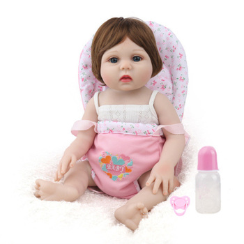 NPK DOLL Reborn Baby Girl corpo Silicone inteiro Vinyl dolls gift for child with Baby Carrier Bath Toys bebe doll reborn 17inch