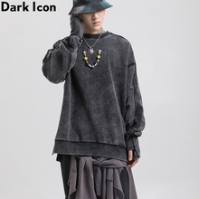 Dark Icon Washing Grey Oversized High Street Mens Sweatshirt Side Split Wristband Loose Men