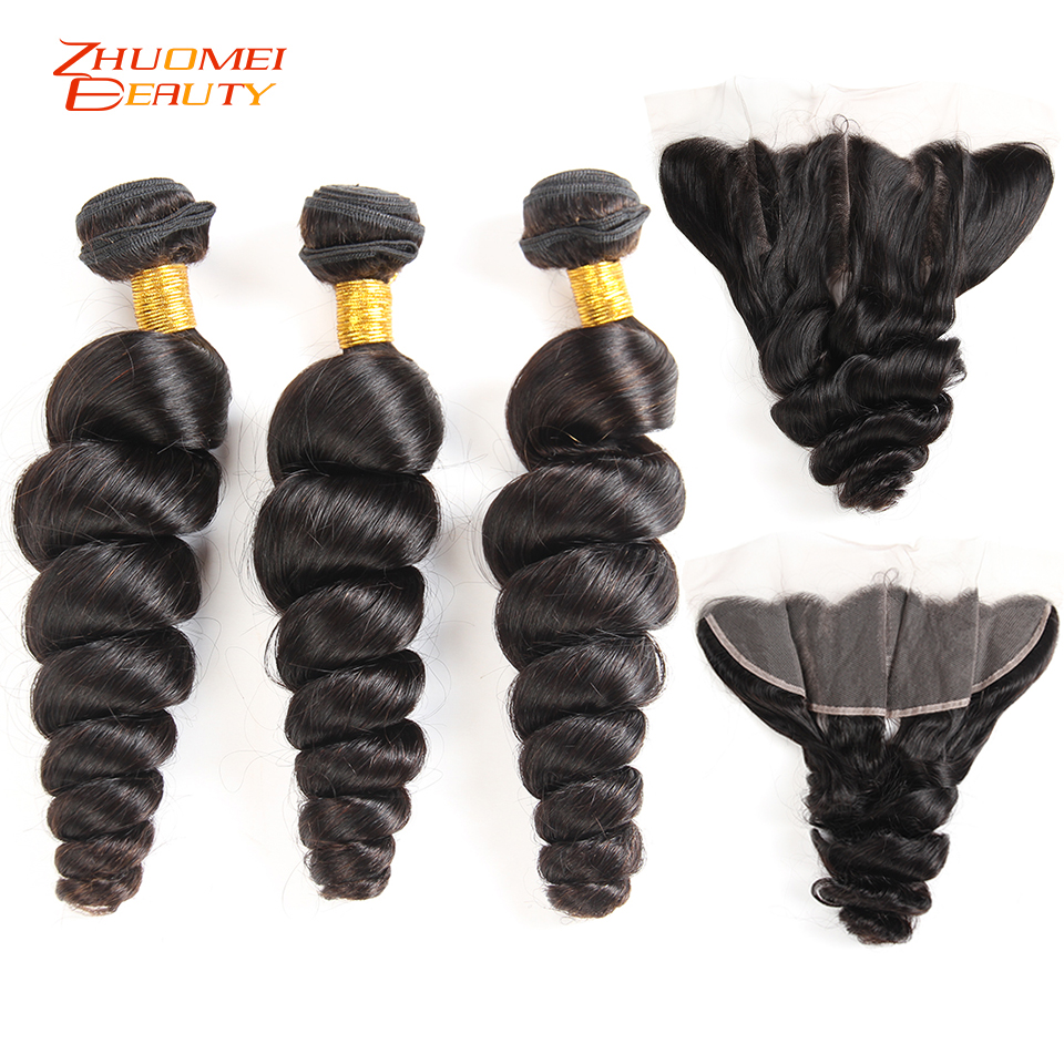 Peruvian Loose Wave 3 Bundles With Frontal Closure Remy Human Hair Weave 13 4 Pre Plucked
