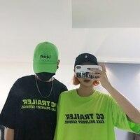 Harajuku уличная женская футболка Топ Лето корейский Ulzzang флуоресцентный зеленый буквы Печатный короткий рукав Футболка женские футболки