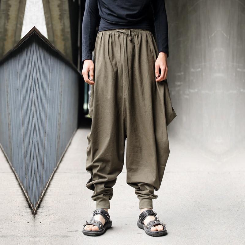 HOT Mens Boho Harem Hakama Casual Baggy Linen Loose Japanese Samurai Pants New