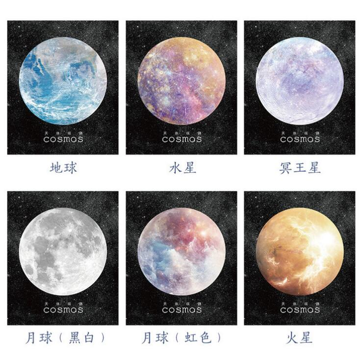 1packs/lot Colourful Universe stars memo pad circle notepads message post Self-Adhesive Sticky Notes scrapbooking