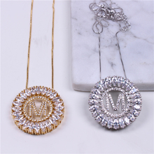 D&M Initial ABCDEFGHIJKLMNPRSTVY Letter Pendant Necklace Cubic Zirconia Alphabet Necklace for Women Fashion Jewelry N001GY412