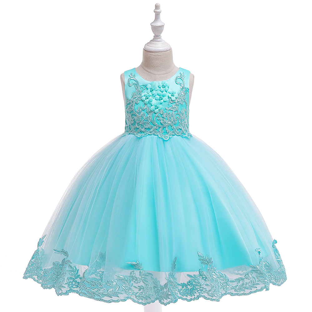 Summer 2019 Embroidery Beading Princess Dress Party Wedding Girls Dress Appliques Kids Dresses for Girls Elegant Custome in Dresses from Mother Kids
